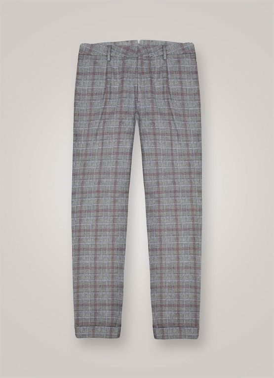 Cotton blend madras chinos