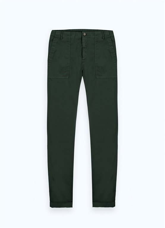 Stretch cotton trousers with large pockets