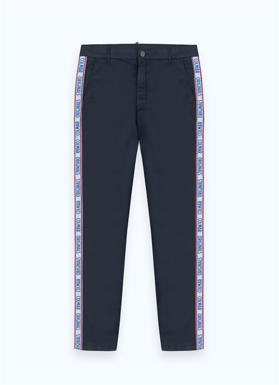 Stretch cotton trousers with multiple logos