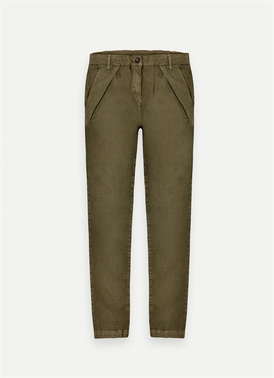 Stretch trousers with pleats