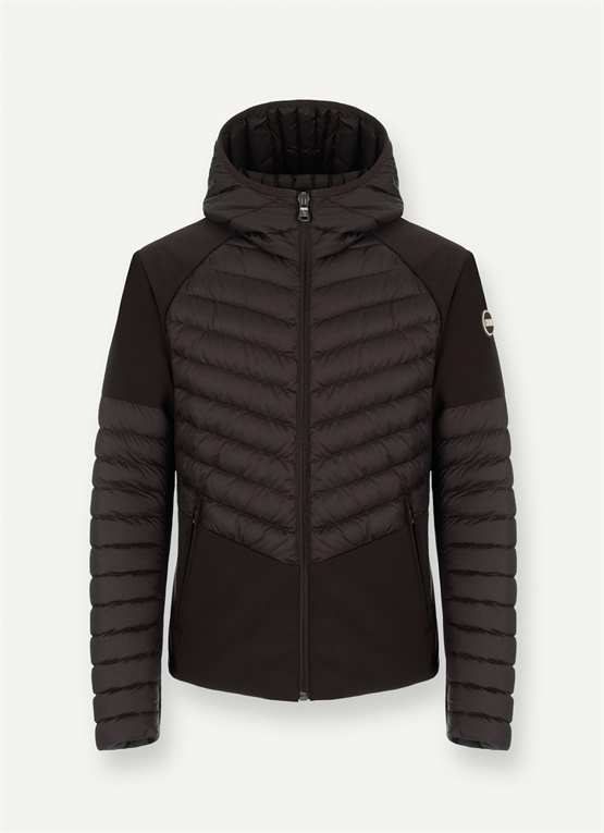 Neoprene-effect lightweight down jacket