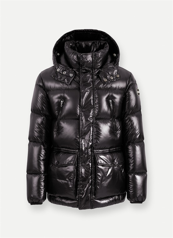 Glossy down jacket with large pockets