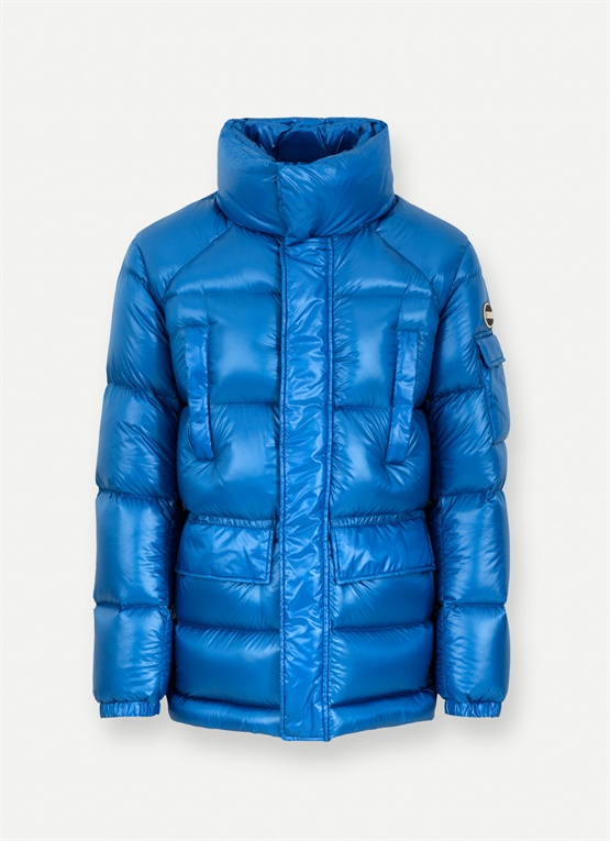Shiny down jacket with large quilted pockets