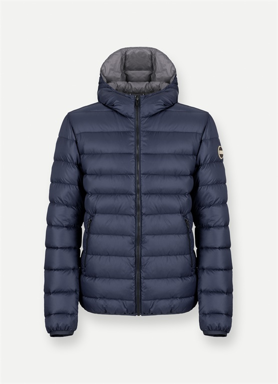 Semi-glossy hooded down jacket