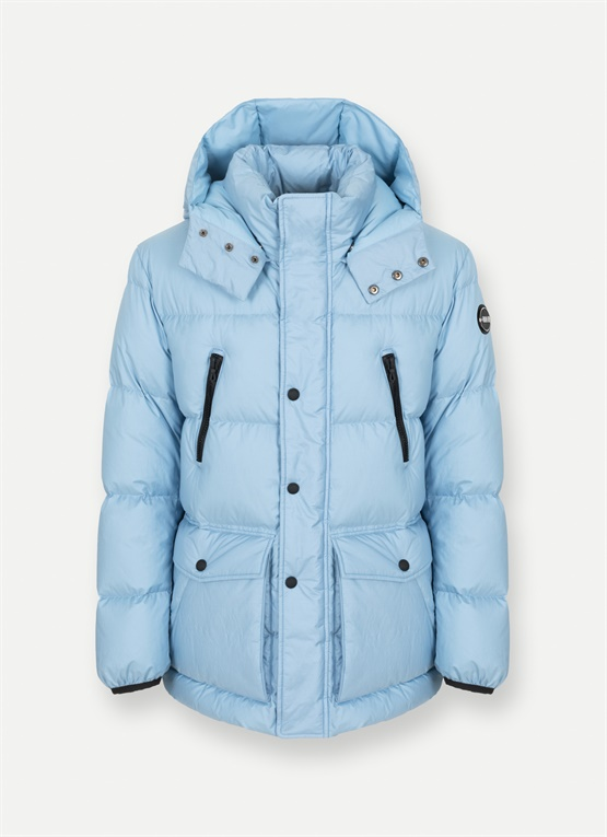 Research maxi-quilted down jacket