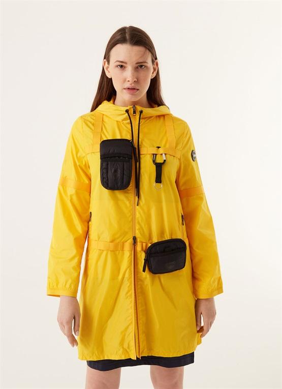 giacca lucida research con cappuccio