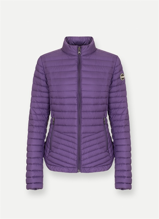 Diagonal-waist lightweight down jacket