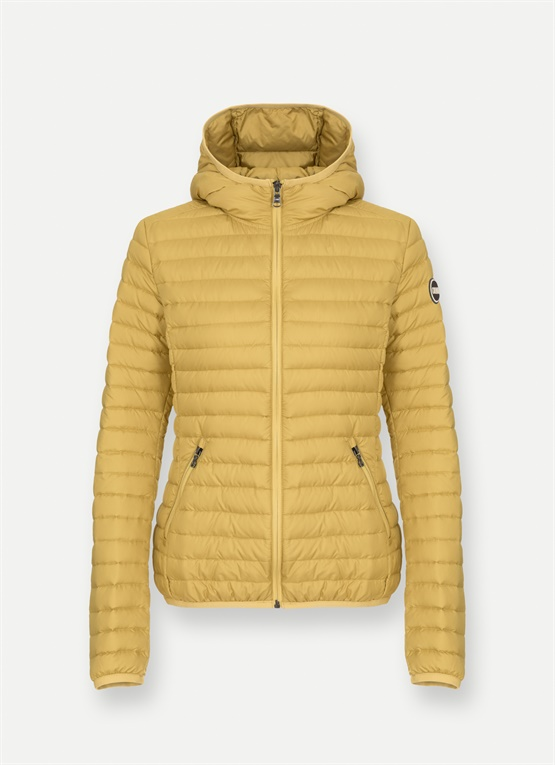 Lightweight hooded down jacket