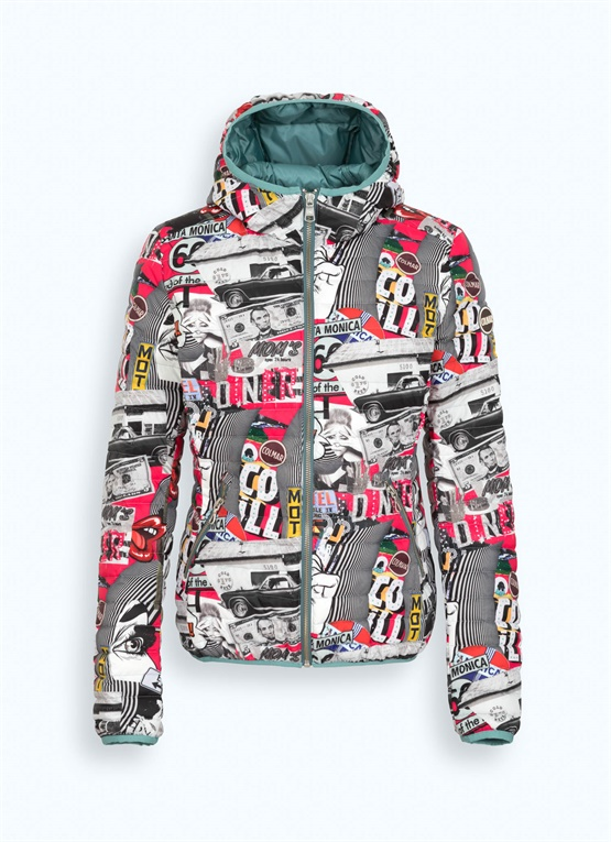 Light down jacket with all-over print