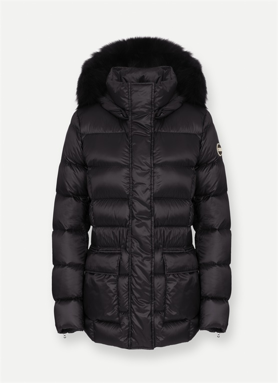 Down jacket with patch pockets
