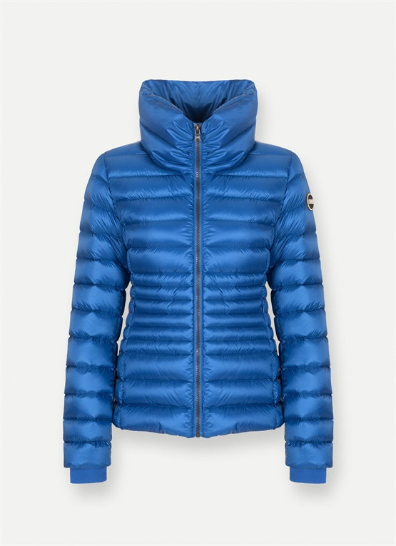High-neck glossy down jacket