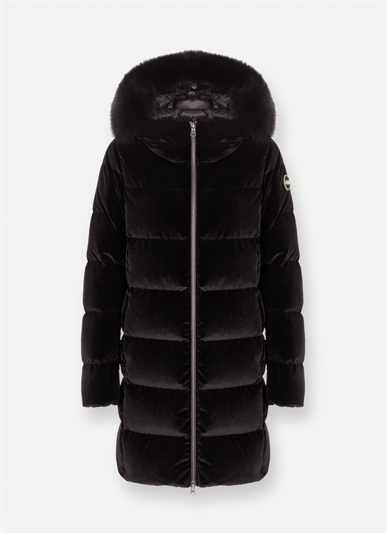 Long velvet down jacket