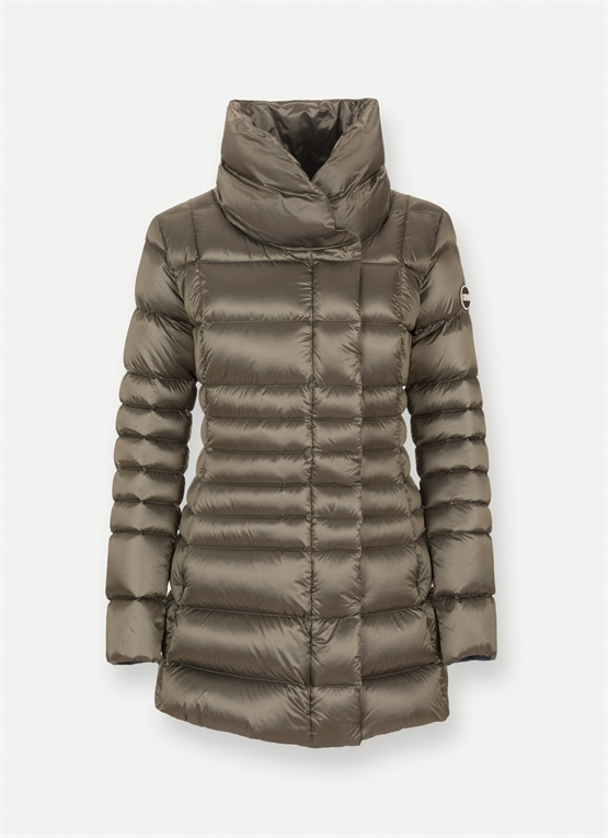 High-neck long down jacket