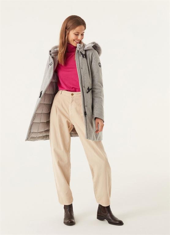 Cappotto donna lunghezza media, manica raglan 3 quarti Beige