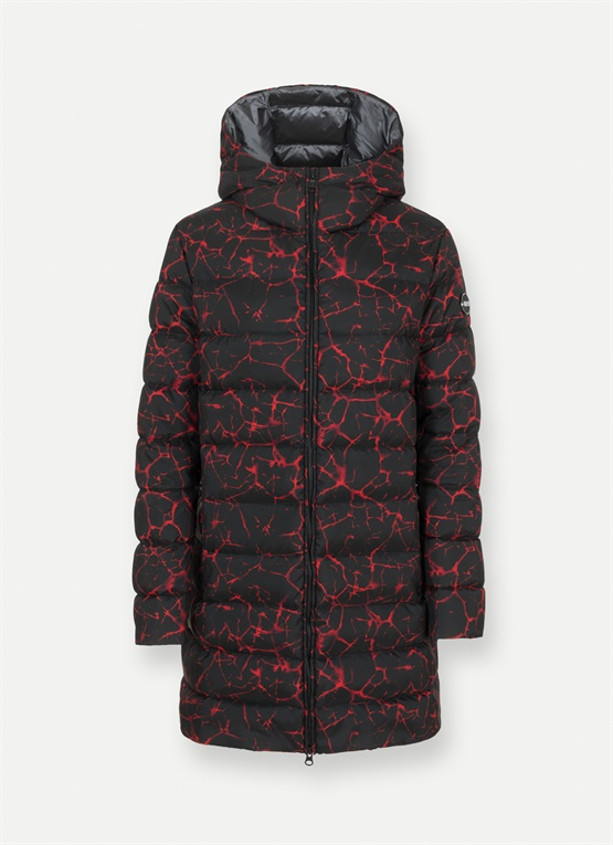 Research magma print long down jacket