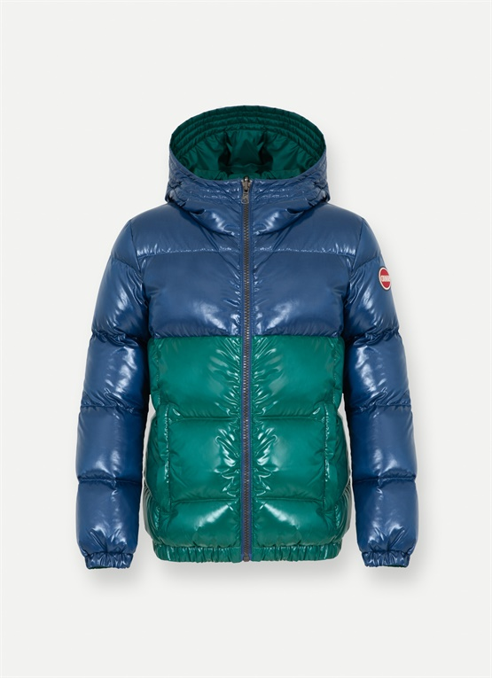 Reversible colourblock down jacket