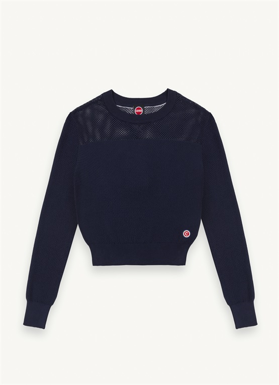 Perforated cotton pullover