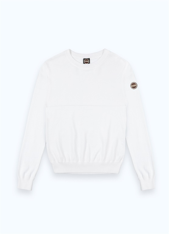 Crew-neck cotton pullover