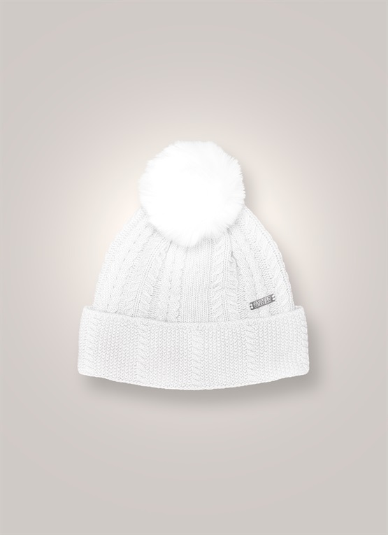 Cashmere hat with pompom