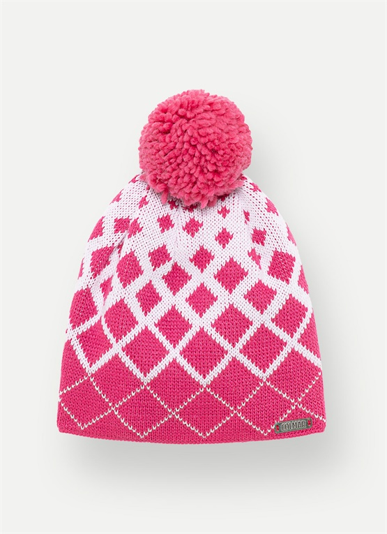 Jacquard hat with a pompom