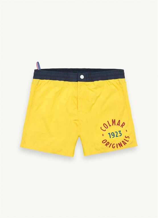 Swimming trunks with lettering print