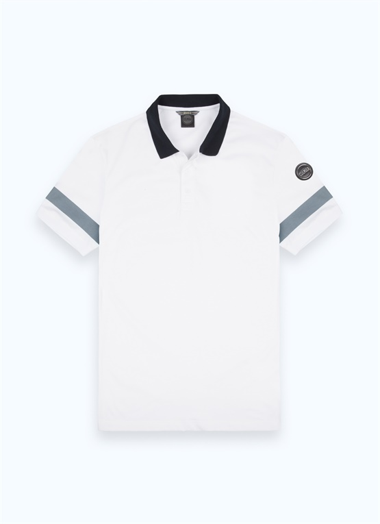 Research polo shirt with printed sleeves