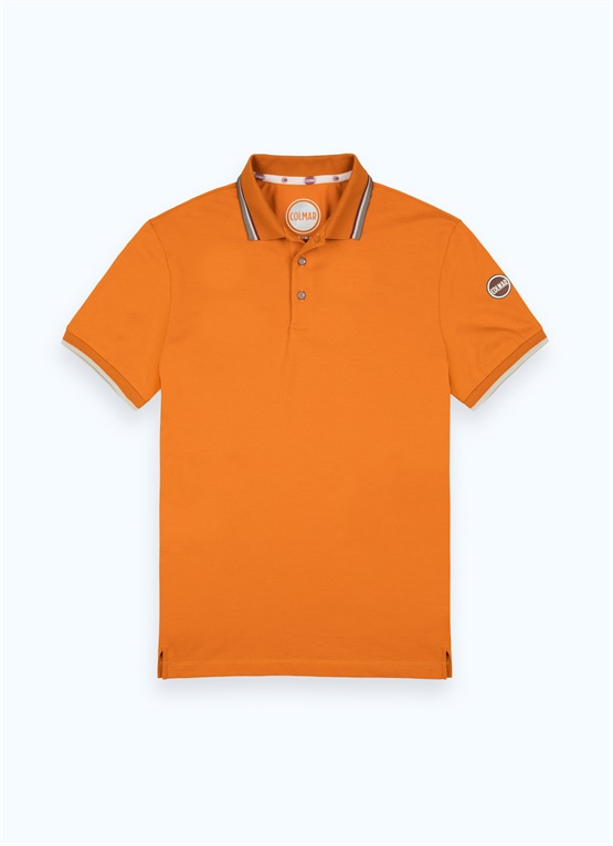 Stretchy polo shirt with contrasting collar