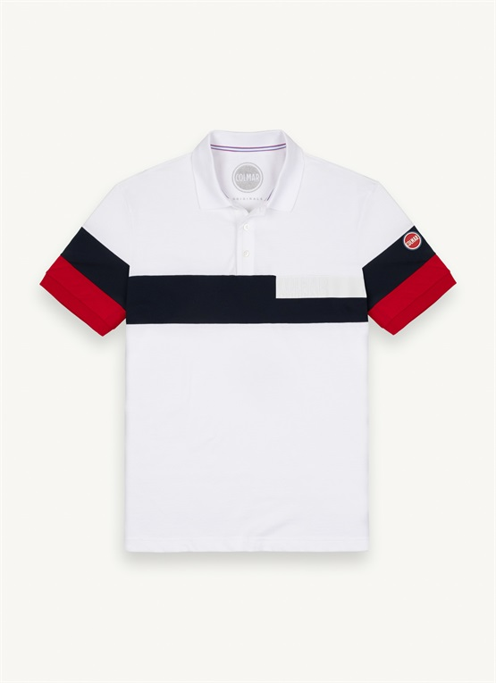 Polo colorblock con scritta transfer