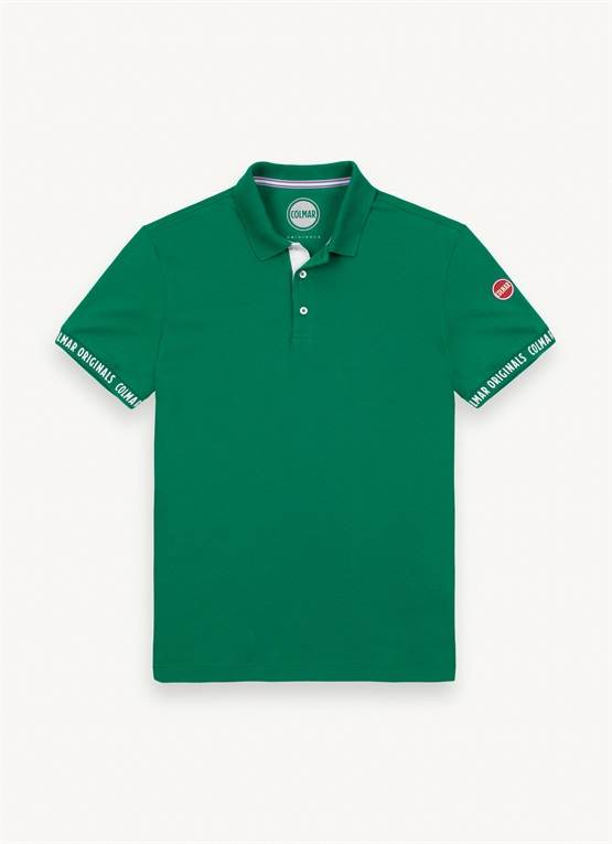 Polo shirt with contrasting placket