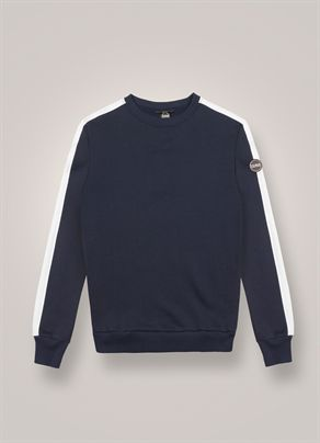 Round-neck sweatshirt with side bands
