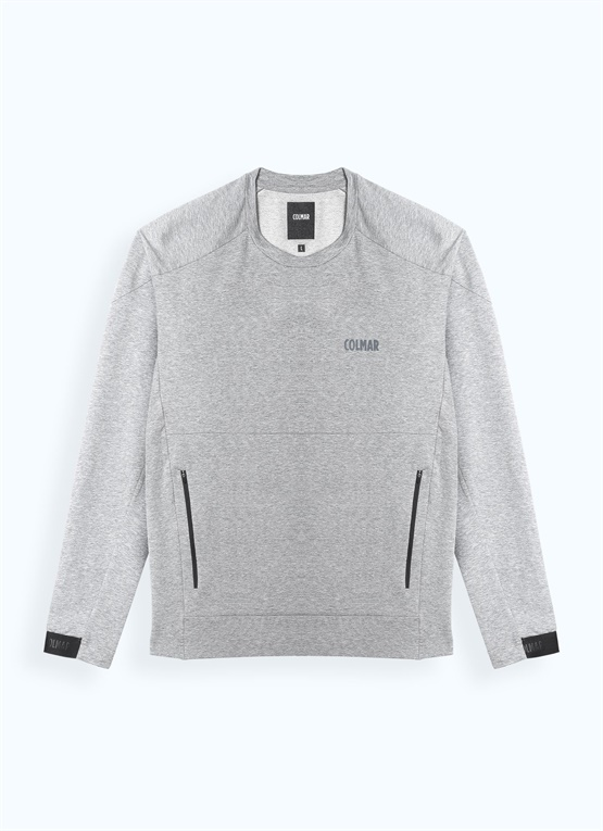 Stretch cotton crew-neck sweatshirt