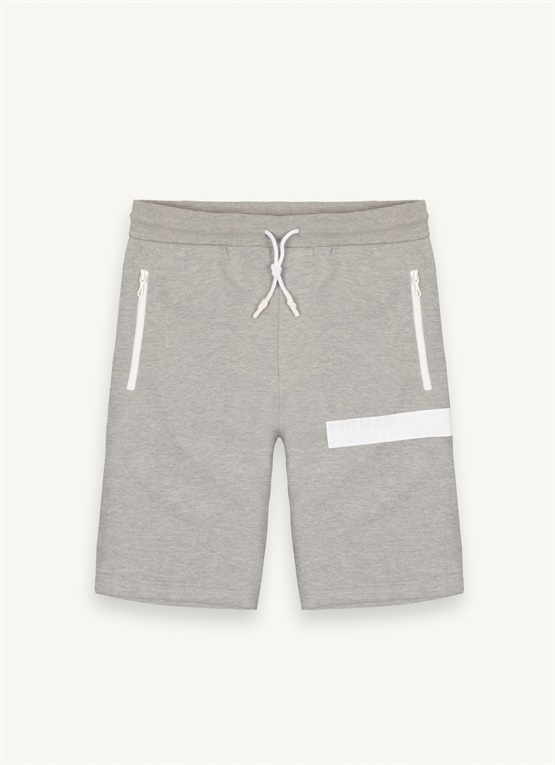 Fleece shorts with transfer lettering