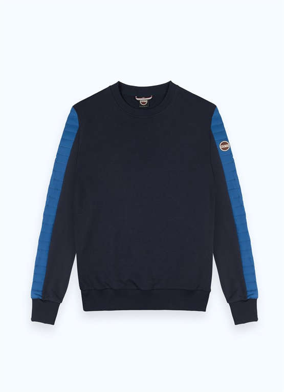 Crew-neck sweatshirt with padded inserts