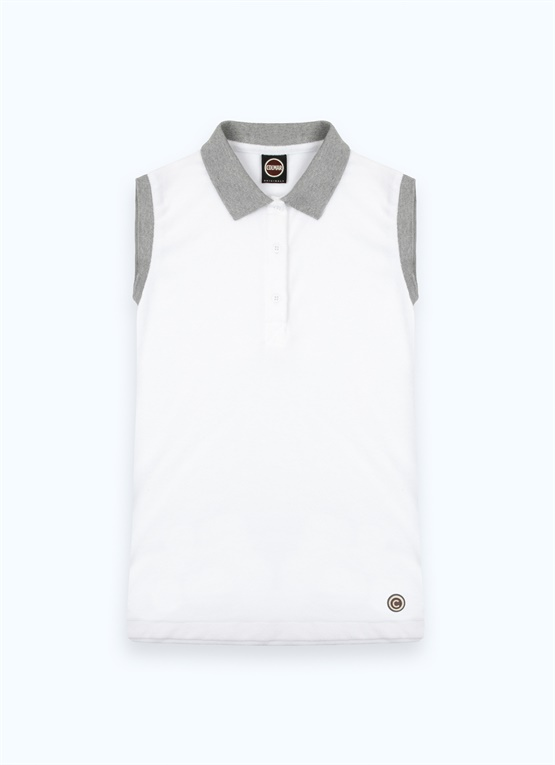 Sleeveless cotton terrycloth polo shirt
