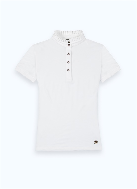 Polo shirt with pleated collar