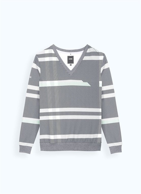 Glen plaid V-neck sweatshirt