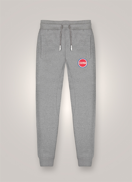 Mélange fleece trousers with large logo